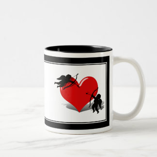 Anti-Valentine - Cupid's Duel (Add your Text) Two-Tone Coffee Mug