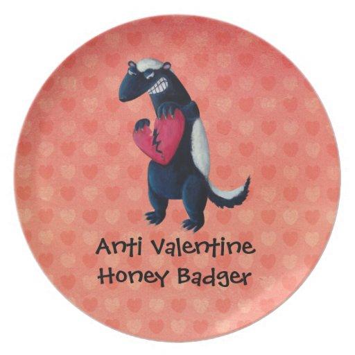 Anti Valentine Honey Badger Dinner Plate