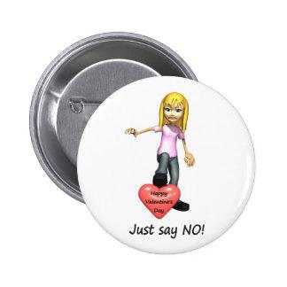 Anti-Valentine Just Say No Pinback Button