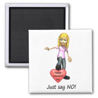 Anti-Valentine Just Say No Magnet