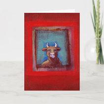Anti-valentine Mad Cow sad upset emotional art Holiday Card