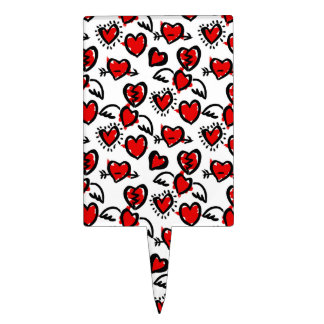 Anti-Valentine Sketch Pattern Cake Topper