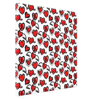 Anti-Valentine Sketch Pattern Canvas Print