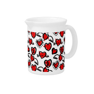 Anti-Valentine Sketch Pattern Drink Pitcher