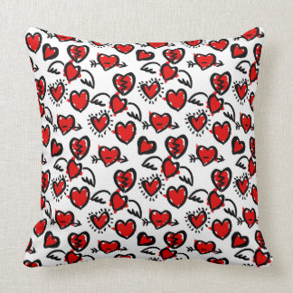 Anti-Valentine Sketch Pattern Throw Pillow