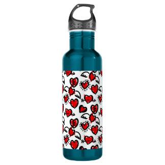Anti-Valentine Sketch Pattern Water Bottle