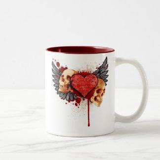 Anti-Valentine Skulls with Wings Mug