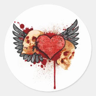 Anti-Valentine Skulls with Wings Sticker