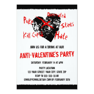 Anti Valentines day black heart Card