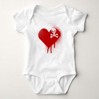Anti Valentines Day Emo Skull Heart Baby Bodysuit