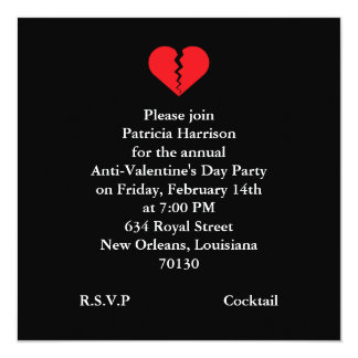 Anti Valentines Day Party Card