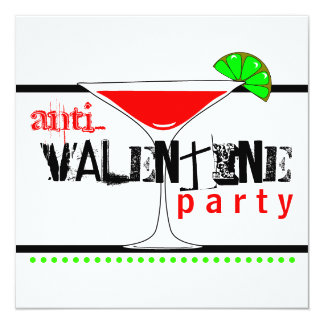 Anti-Valentines Day Party Cocktail Martini Personalized Invitation