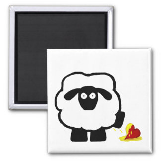 Anti Valentine's Day Sheep 2 Inch Square Magnet