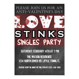 Anti-Valentine's Love Stinks Singles Party 3.5x5 Paper Invitation Card
