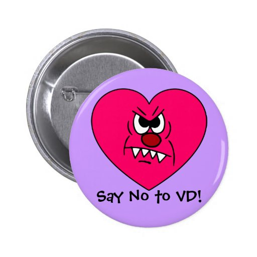 Anti-VD: I hate Valentines Day Angry Heart Face Button