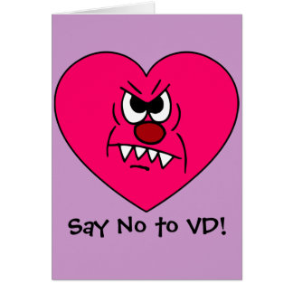 Anti-VD: I hate Valentines Day Angry Heart Face Card
