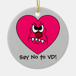 Anti-VD: I hate Valentines Day Angry Heart Face Ceramic Ornament