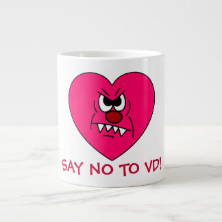 Anti-VD: I hate Valentines Day Angry Heart Face Large Coffee Mug