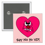 Anti-VD: I hate Valentines Day Angry Heart Face Pinback Button