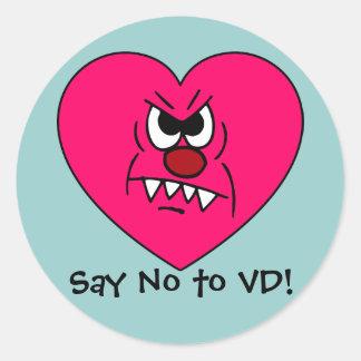 Anti-VD: Odio la cara enojada del corazón del día Pegatina Redonda
