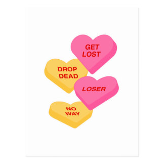 anti vday candy hearts postcard