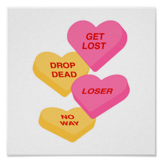 anti vday candy hearts poster