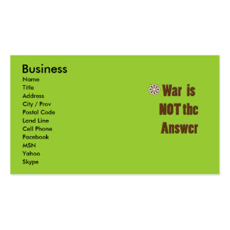 Anti-War Contact Card with Flower Image in Green