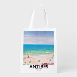 Antibes France Beach poster Grocery Bag