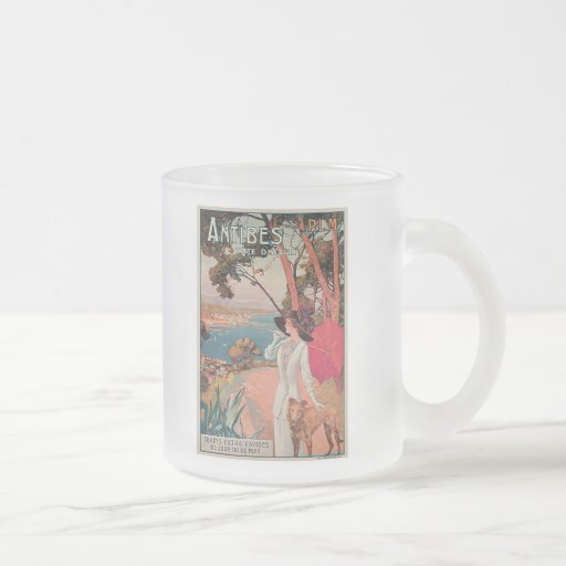 Antibes, France Vintage Travel Advertisement Frosted Glass Coffee Mug