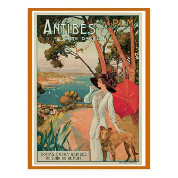 "Beach Themed ""Antibes, France"" Vintage Travel Postcard"