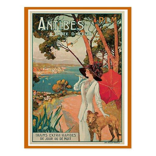 """Antibes, France"" Vintage Travel Post Card"