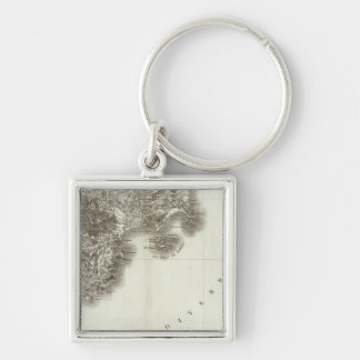 Antibes Silver-Colored Square Keychain