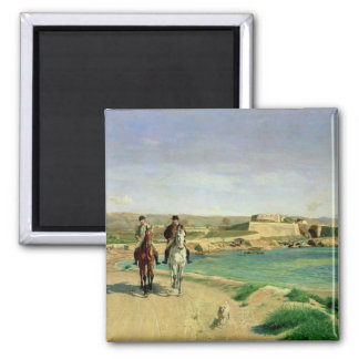 Antibes, the Horse Ride, 1868 2 Inch Square Magnet