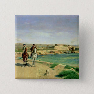 Antibes, the Horse Ride, 1868 Pinback Button