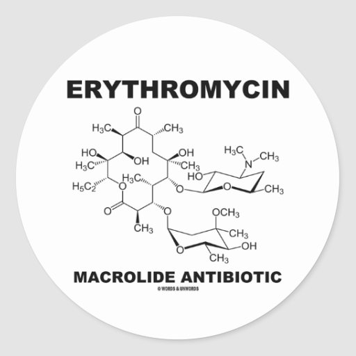 Antibiótico del macrólido de la eritromicina pegatina redonda