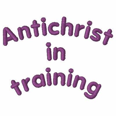 Antichrist en el entrenamiento sudadera bordada con serigrafía