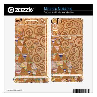 Anticipation by Gustav Klimt Motorola Milestone Decals