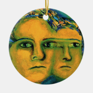 Anticipation - Gold and Emerald Goddess 2 sides Ceramic Ornament
