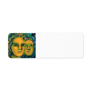 Anticipation - Gold and Emerald Goddess full Return Address Label