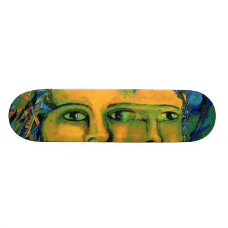 Anticipation - Gold and Emerald Goddess Skateboard