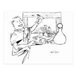 antiga del farta del mesa del comida del desenho d postal