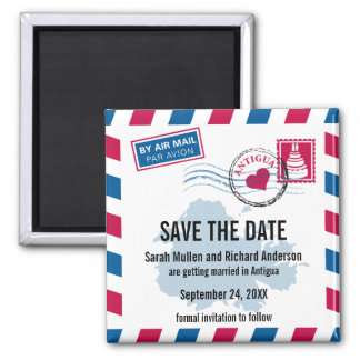 Antigua Air Mail Wedding Save the Date Magnets