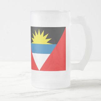 Antigua and Barbuda Flag Frosted Glass Beer Mug