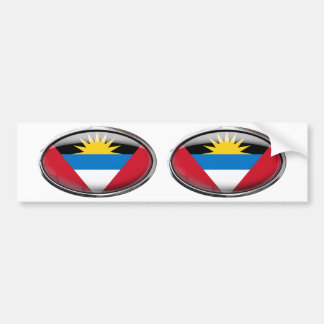 Antigua and Barbuda Flag Glass Oval Bumper Sticker