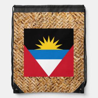 Antigua and Barbuda Flag on Textile themed Drawstring Backpack