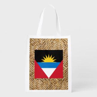 Antigua and Barbuda Flag on Textile themed Reusable Grocery Bag