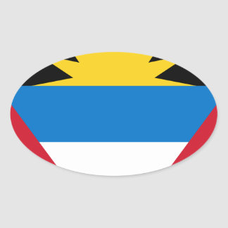 Antigua and Barbuda Flag Oval Sticker