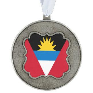 Antigua and Barbuda Flag Pewter Ornament