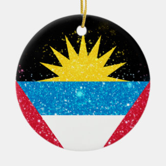 Antigua and Barbuda Flag Shining Unique Double-Sided Ceramic Round Christmas Ornament