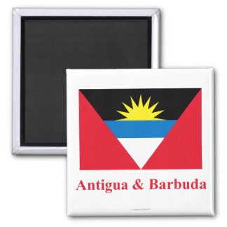 Antigua and Barbuda Flag with Name Magnet